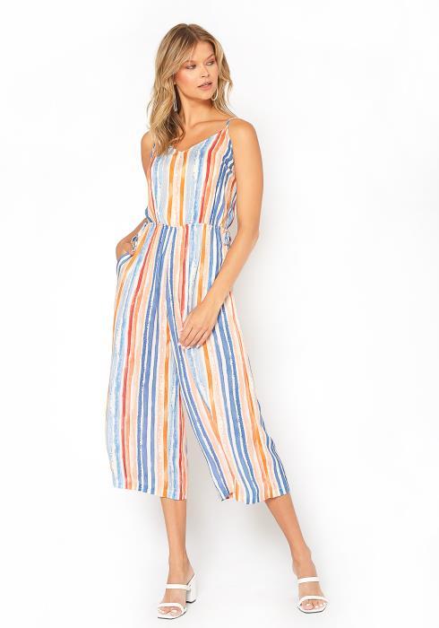 BTFL-life Multi Striped Cropped Cami Jumpsuit