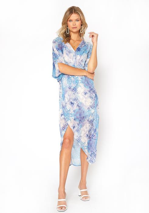 BTFL-life Gradient Print Asymmetric Overlay Midi Dress