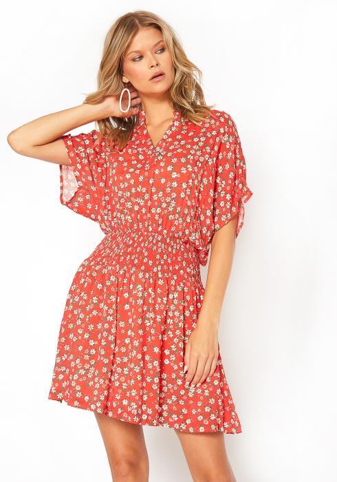 BTFL-life Floral Print Dolman Sleeve Mini Dress