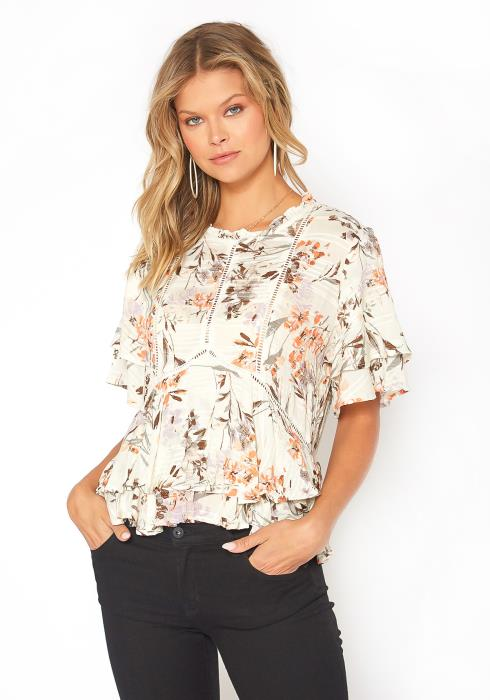 BTFL-life Floral Print Tiered Peplum Flare Top