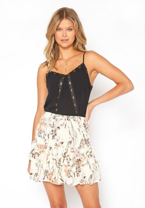 BTFL-life Floral Print Smocked Mini Skirt