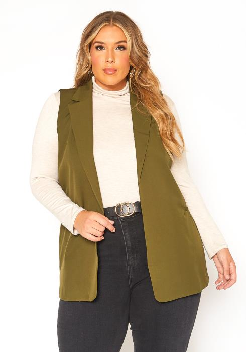 Asoph Plus Size Notch Collar Open Front Satin Vest