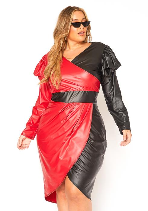 Asoph Plus Size PU Leather Color Splice Midi Dress