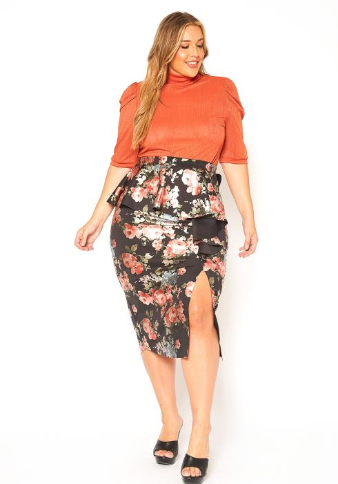 Asoph Plus Size Floral Ruffle Effect Pencil Skirt