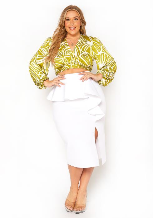 Asoph Plus Size Ruffle Effect Fancy Pencil Skirt