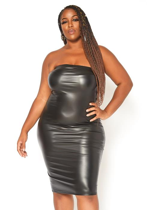 Asoph Plus Size PU Leather Tube Bodycon Dress