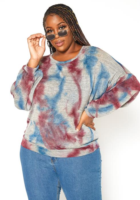 Asoph Plus Size Marble Dye Crewneck Sweater