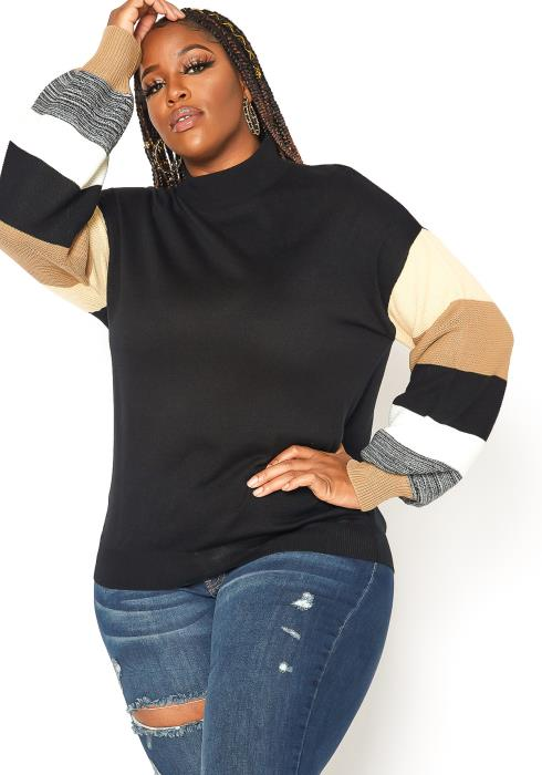 Asoph Plus Size Mock Neck Stripe Sleeve Sweater