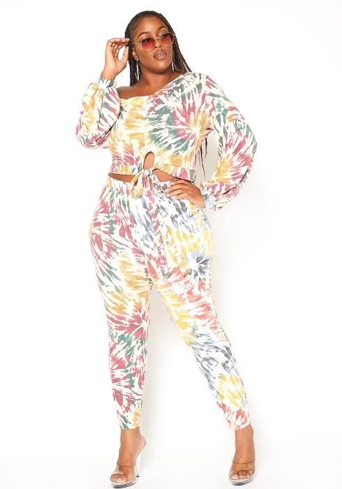 Asoph Plus Size Chill Mode Tie Dye Lounge Set