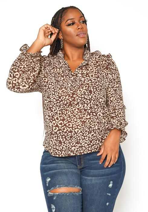 Asoph Plus Size Leopard Print Ruffle Trim Blouse