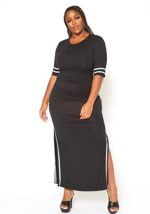 Asoph Plus Size Tape Striped Side Maxi Dress