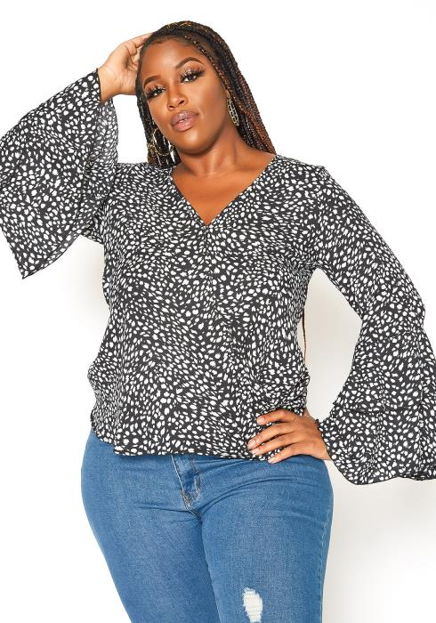 Asoph Plus Size Tiered Bell Sleeve Blouse