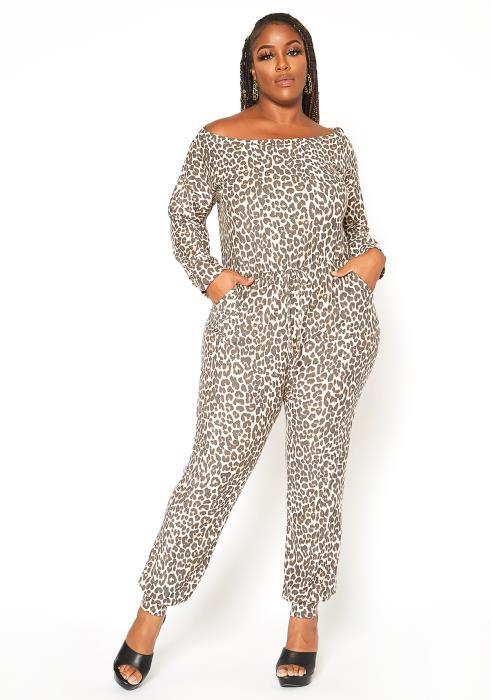 Asoph Plus Size Leopard Print Lounge Jumpsuit