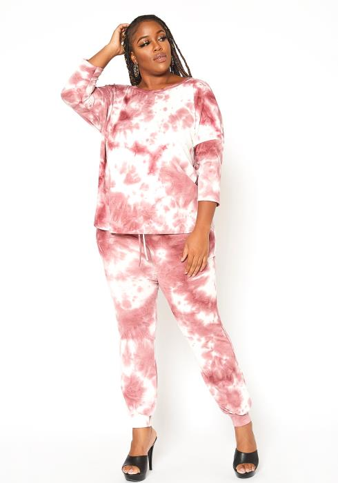Asoph Plus Size Pink Tie Dye Sweatshirt & Pants Set