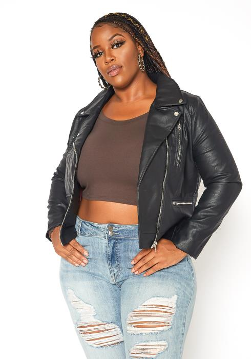 Asoph Plus Size Zip Up Leather Jacket