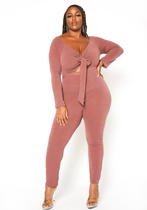 Asoph Plus Size Tie Front Long Sleeve Bodycon Jumpsuit