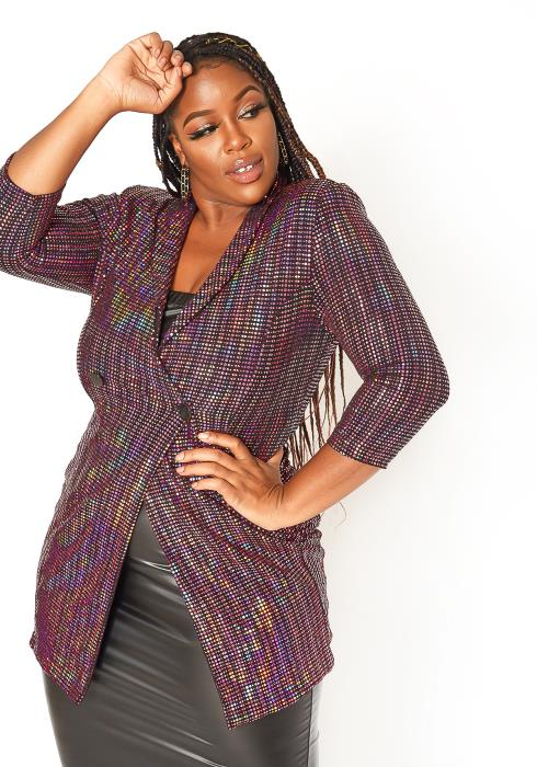 Asoph Plus Size Party Sequin Notch Collar Longline Blazer