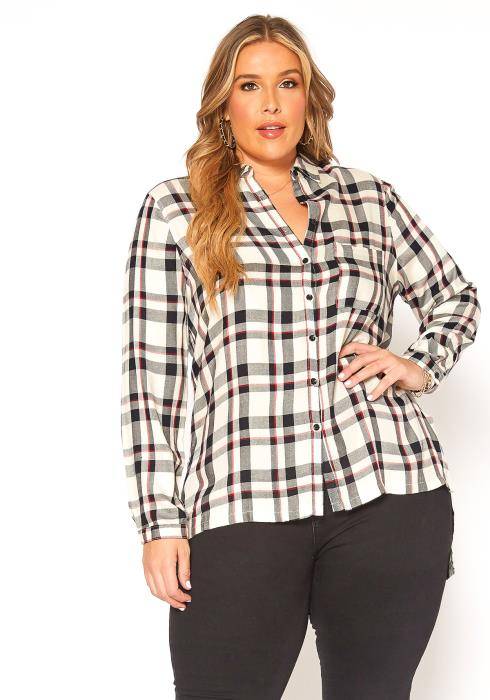 Asoph Plus Size Plaid Button Up Collar Top