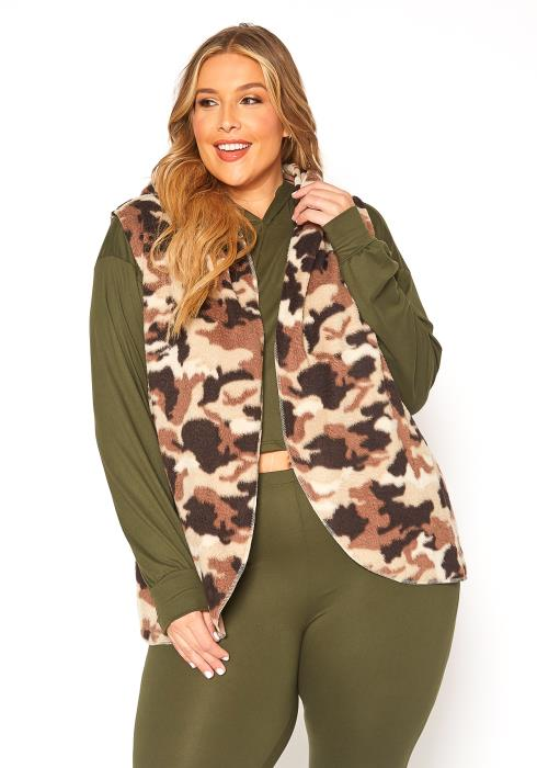Asoph Plus Size Cozy Camo Hooded Vest