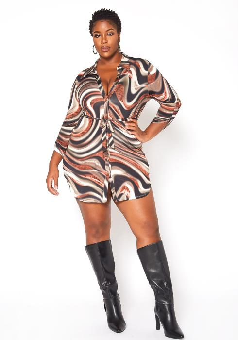 Asoph Plus Size Abstract Print Mini Dress