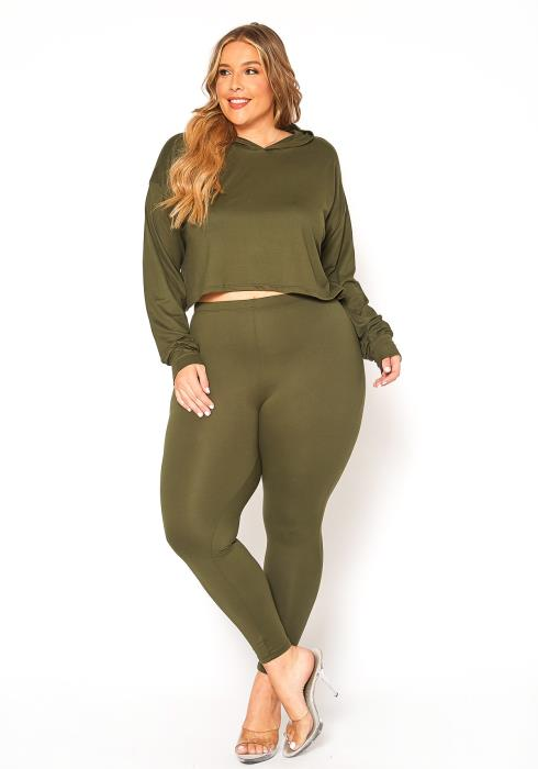 Asoph Plus Size Hooded Sweater & Leggings Set