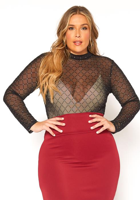 Asoph Plus Size Diamond Hinted Mesh Bodysuit