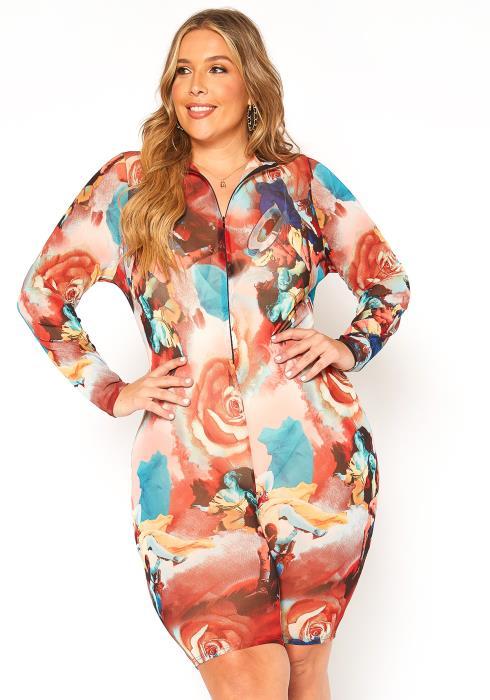 Asoph Plus Size Blooming Print Mesh Mini Dress