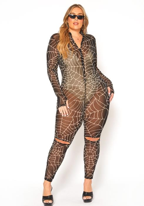 Asoph Plus Size Caught Up Spider Web Print Bodycon Jumpsuit