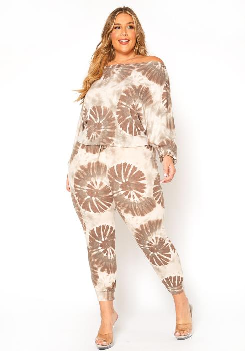 Asoph Plus Size Sandy Tie Dye Lounge Set
