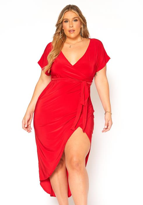 Asoph Plus Size Romantic Slit Hem Midi Dress