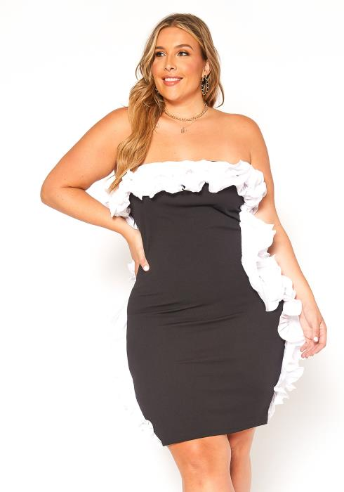 Asoph Plus Size Ruffle Trim Bodycon Tube Mini Dress