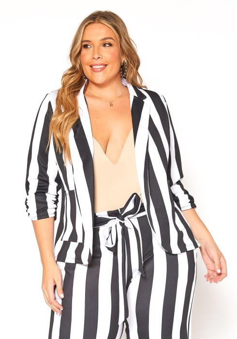 Asoph Plus Size Striped Open Front Blazer