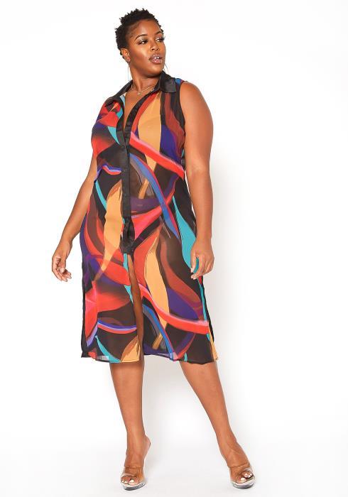 Asoph Plus Size Abstract Print Sheer Collar Midi Dress