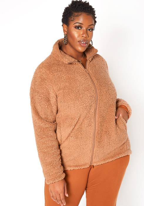 Asoph Plus Size Turtle Neck Zip Up Sherpa Coat