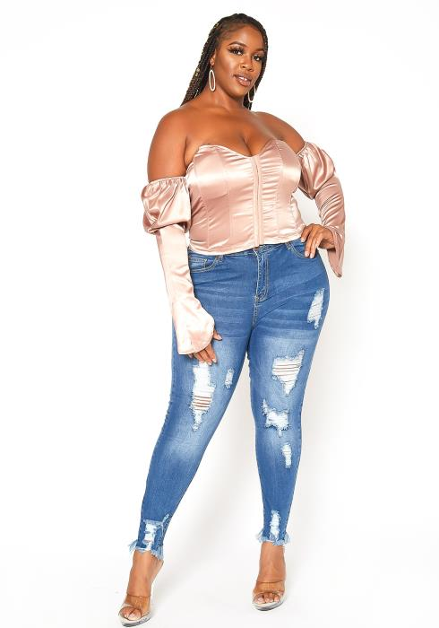 Asoph Plus Size Distressed Denim Skinny Jean