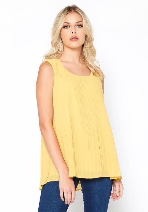 Pleione Sleeveless Pleated Flare Hem Blouse Top