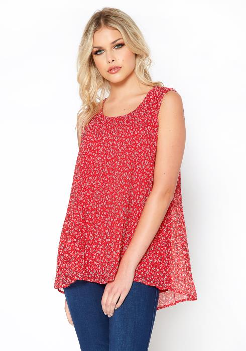 Pleione Micro Pleated Sleeveless Top