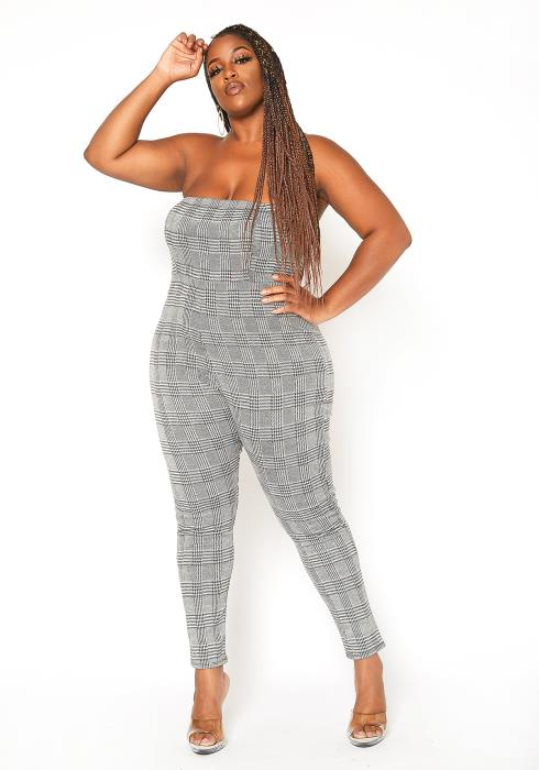 Asoph Plus Size Plaid Tube Bodycon Jumpsuit