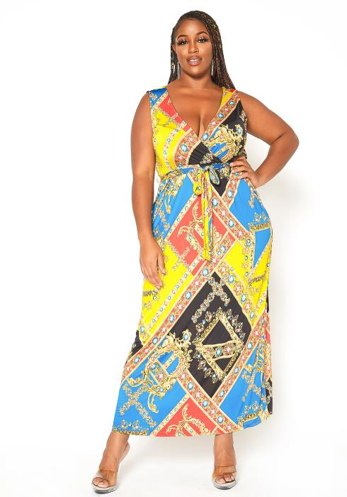 Asoph Plus Size Boracade Print Maxi Dress