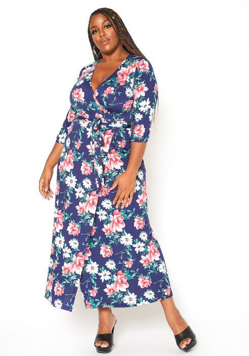 Asoph Plus Size Boho Floral Print Maxi Dress