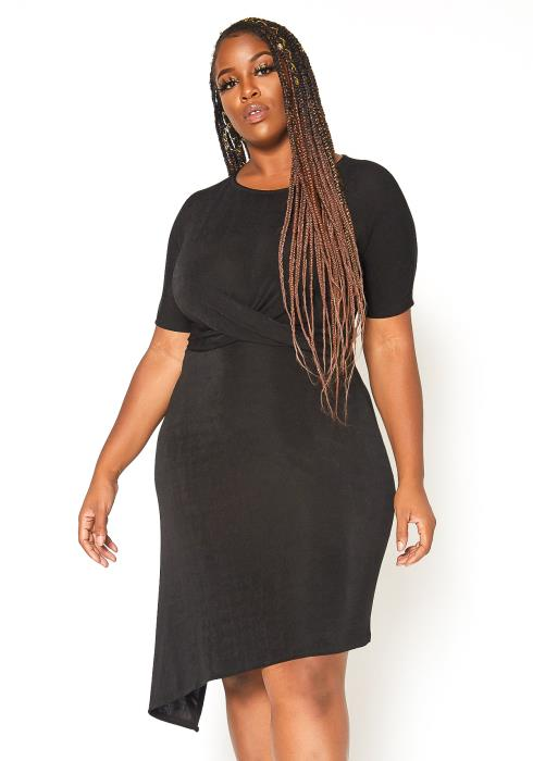 Asoph Plus Size Ruched Asymmetric Mini Dress