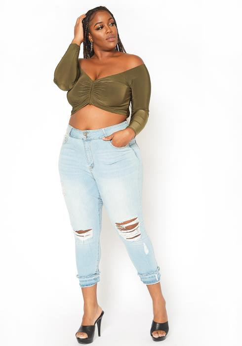 Asoph Plus Size Light Wash Denim Skinny Jeans