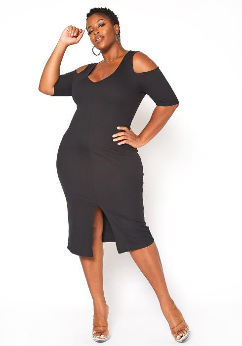 Asoph Plus Size Ribbed Cold Shoulder Midi Dress