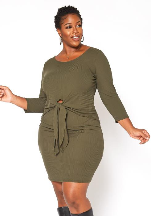 Asoph Plus Size Ribbed Knit Tie Front Dress