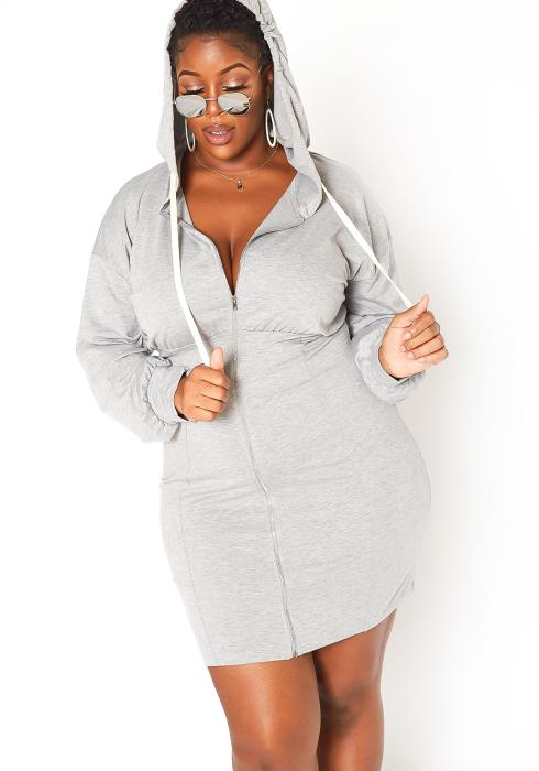 Asoph Plus Size Courtside Hooded Mini Dress