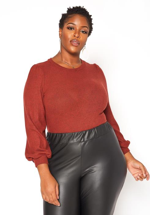 Asoph Plus Size Ribbed Knit Bodysuit
