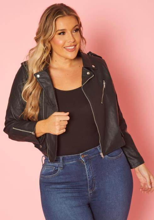 Asoph Plus Size Chic Zip Up Moto Jacket