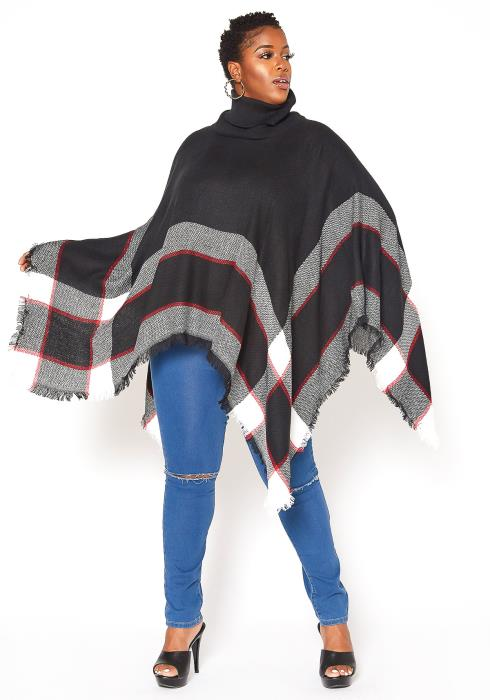 Asoph Plus Size Plaid Turtleneck Poncho Sweater