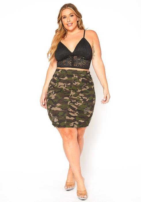 Asoph Plus Size Camo Print Denim Skirt
