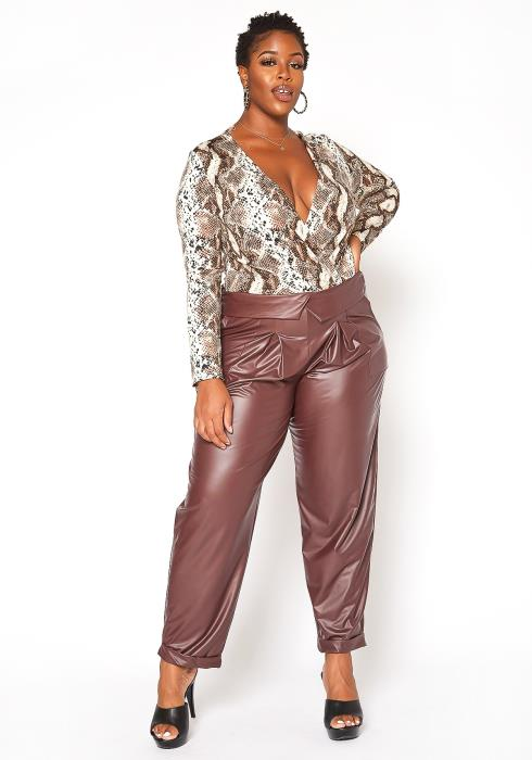 Asoph Plus Size Fold Waist Light Leather Pants